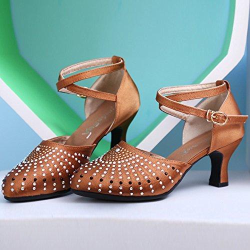 Azbro Mujer Zapatos de Baile Latino Mary Jane Decoración de Diamantes de Imitación Puntera Redonda Marrón