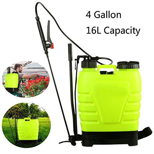 Tomasar Portable Pressure Knapsack Hand Piston Pump Lawn Garden Farm Sprayers With 3 Differrent Spray Head, US STOCK (4-Gallon 16L) - Farm Sprayer