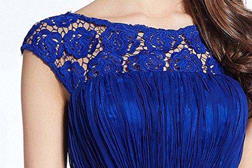 Rückenfrei Abendkleider A Beauty Spitze Königsblau Linie Emily Plissee Knopf Kurzarm 68H8Awq7Y