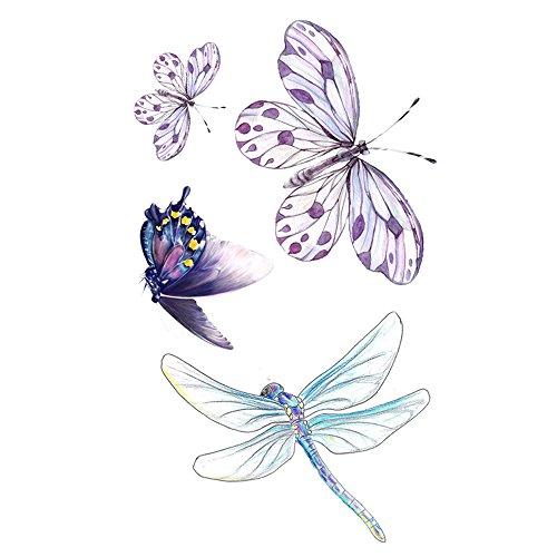WYUEN 5 Sheets Waterproof Butterfly Temporary Tattoo Dragonfly Fake Tattoo Sticker For Women Men Hand Body Art 98X6cm