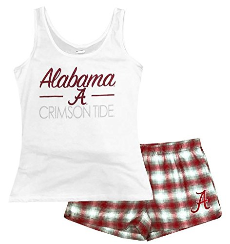 Concepts Sports NCAA Womens's Alabama Crimson Tide Forge Tank and Short Set White Medium
