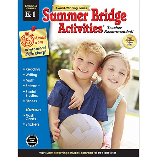 Summer Bridge Activities - Grades K - 1, Workbook for Summer Learning Loss, Math, Reading, Writing and More with Flash Cards and Stickers -
