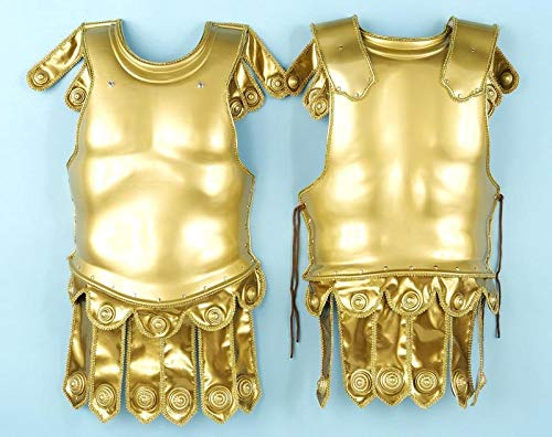 Gold Roman Chest Plate - Forum Deluxe 2-Piece Roman Costume Armor, Gold, One Size