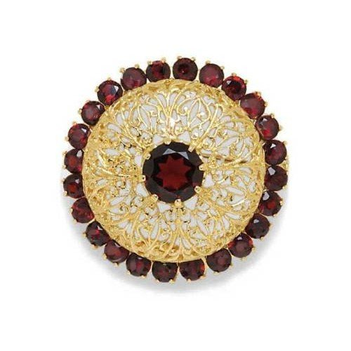 Gioie Broche Femme en Or 18 carats Jaune avec Grenat, 21 Grammes