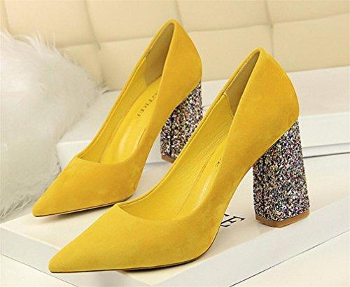 Chicas Heel Zapatos Esposa Mujeres De La Yellow De Feminine Yellow A Lemon Zapatos Tacón CLOVER LUCKY Corte Alto De La Boda Blink Sandalias Ladies Party De Chunky Zapatos 18qAwaU