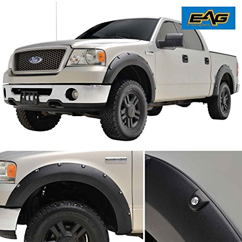 EAG Matte Black Boss Pocket Rivet Style Fender Flares 4pcs Set for 04-08 F-150 (Exclude Flareside/Stepside Bed) (18293) (Bed Stepside Kit)