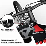 Optimum Men's Hawkley Cycling Fingerless Road Gloves, Black/Red, Medium