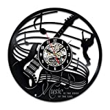 Guitar Music Instrument Art Gift Circle Vinyl Wall Clock Art Home Decor Interior Design Childrens Room Living Bedroom Nursery Decoration - Gift for kids him her mother father boyfriend girlfriend