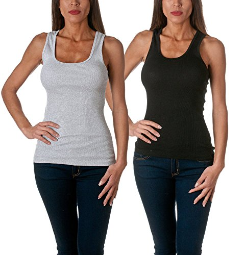 Sofra Womens Tank Cotton Ribbed