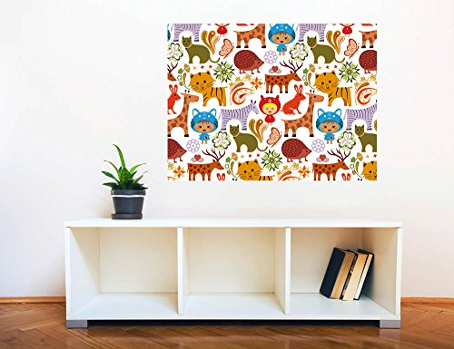Removable Wall Sticker Wall Mural Baby Animals in Garden Pattern Creative Window View Wall Decor