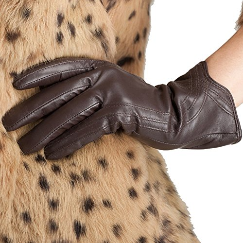 Nappaglo Nappa Leather Gloves Warm Lining Winter Handmade Curve Imported Leather Lambskin Gloves for Women (M, Brown) (Ladies Brown Leather Gloves)