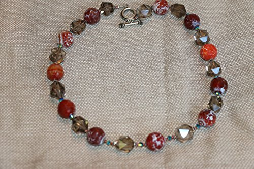 Smoky Quartz and fire agate necklace (Quartz Swarovski Smoky Necklace)