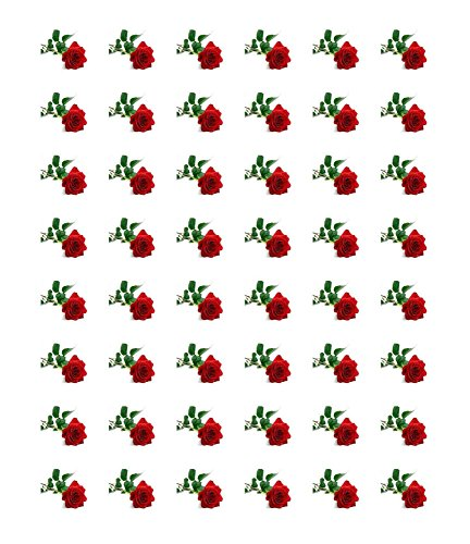 (48 RED ROSE ENVELOPE SEALS LABELS STICKERS 1.2