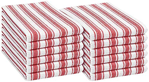 Native Fab 12 Pack Farmhouse Basket Weave Kitchen Dish Towels Cotton Absorbent Washable 15x25 - Tea Towels, Dish Cloths, Restaurant Cleaning Towels, Kitchen Towels with Hanging Loop, Red White