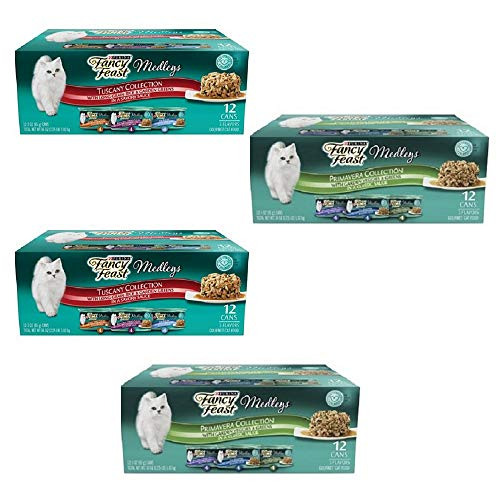 Amazon.com : Purina Fancy Feast Medleys in Sauce Adult Wet Cat Food - (24) 3 oz. Cans (6 Flavor Feast Variety Pack, 3 oz (Pack of 48)) : Pet Supplies