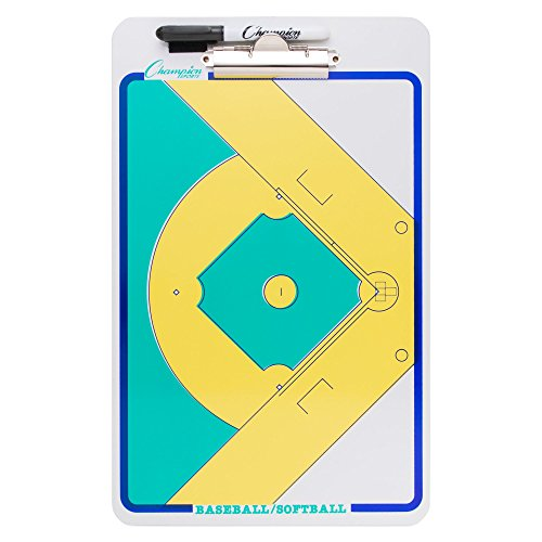 Champion Sports Large Dry Erase Board For Coaching Baseball - Whiteboards for Strategizing, Techniques, Plays - 2-Sided Boards with Clip - Front Side Full Feild - Backside 2-team -