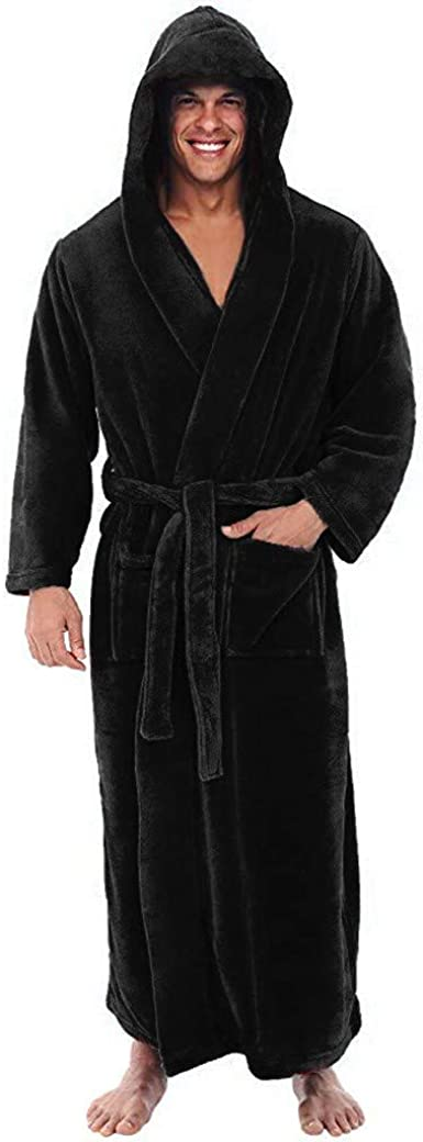 Mens Hooded Robe Warm Plush Long Bathrobes for Men Kimono Sleepwear Nightgown Spa Shawl