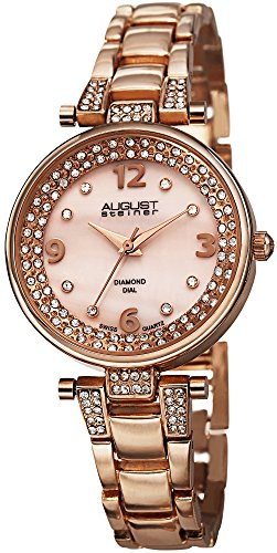 August Steiner Women's Diamond Watch - Diamond Hour Markers on Pink Mother of Pearl Dial On Crystal Accented Rose Gold Stainless Steel Bracelet - AS8137
