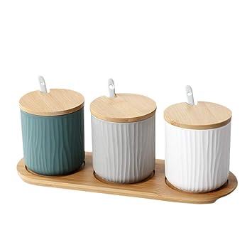 Whchiy - Barattolo portaspezie con coperchio, design moderno, antipolvere,  perfetto per la cucina Three Colors