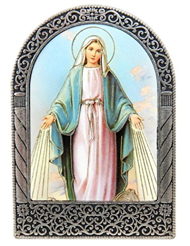 Our Lady of Grace Icon in Silver Tone Metal Arch Standing Plaque, 2 1/2 Inch