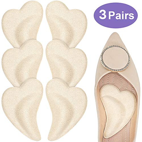 Beautulip Arch Pads for Flat Feet Adhesive Shoe Inserts Plantar Fasciitis Fallen Arch Pain Relief 3 Pairs (Beige)