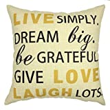 Decorative Pillow Cover - YOUR SMILE-Letter Cotton Linen Decorative Square Cushion Covers Throw Pillow Case 18 x 18