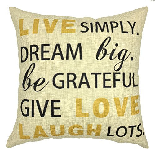 YOUR SMILE-Letter Cotton Linen Throw Pillow Covers Decorative 18 x 18 (Big Lots Furniture Mattress compare prices)