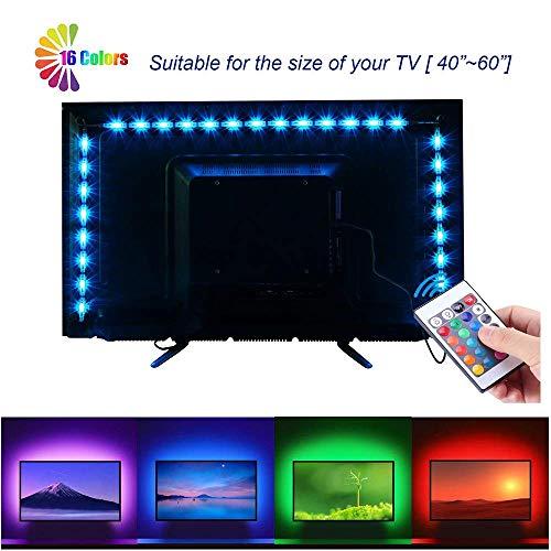 LED TV Backlight Strip Lights for HDTV 40-60in - RGB LED for TV neon bias Lighting Strips 2M/6.56ft TV USB Backlight Kit with Remote 16 Color 5050
