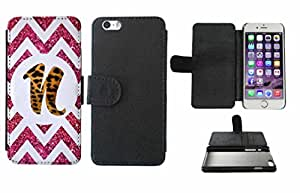 Leopard Print Custom Monogrammed and Pink Glitter Chevron Initial N Leather Phone Case Cover with Credit Card Holder Apple iPhone 6 Plus (5.5 Inches)