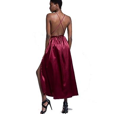 vestidos sexy para mujer con Deep V Neck Backless Bandange Design ...