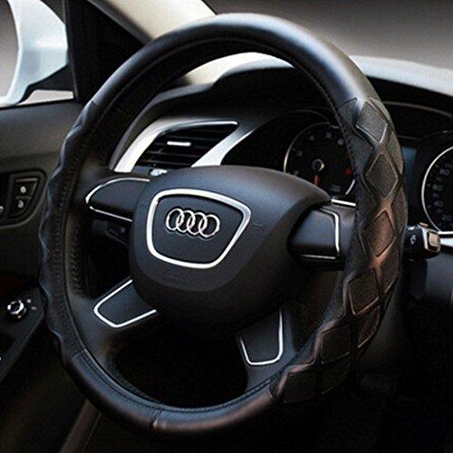 COOCHEER Leather Steering Wheel Cover, Odorless Luxury with Elegant Design, Anti-Slip, Universal 15 inch-Black , Four Seasons General Subaru Steering Wheel Cover