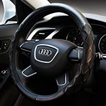 COOCHEER Leather Steering Wheel Cover, Odorless Luxury with Elegant Design, Anti-Slip, Universal 15 inch-Black , Four Seasons General. (M)