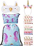 BBTO Unicorn Gifts for Girls Include 1 Piece Unicorn Drawstring Backpack, 1 Piece Makeup Bag, 1 Piece Headband, 1 Piece Eye Mask and 15 Pieces Hair Ties (Blue and Yellow) For Sale