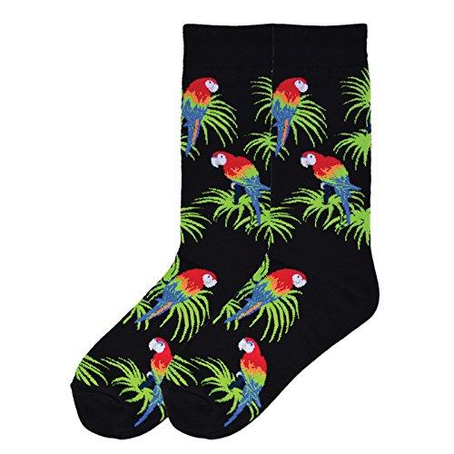 K. Bell Socks Men's The Outdoors Novelty Crew Socks, Parrots (Black), Shoe Size: 6-12 -