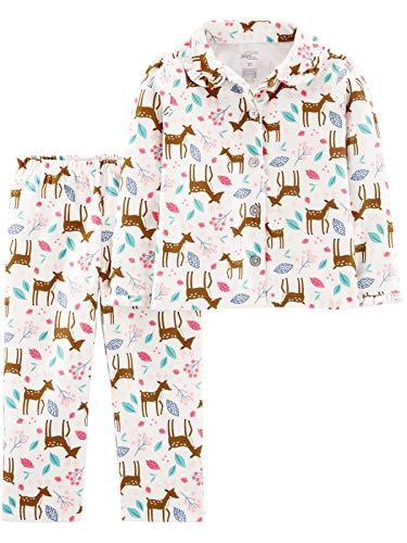 Simple Joys by Carter's Girls' Toddler 2-Piece Coat Style Pajama Set, Deer, 5T