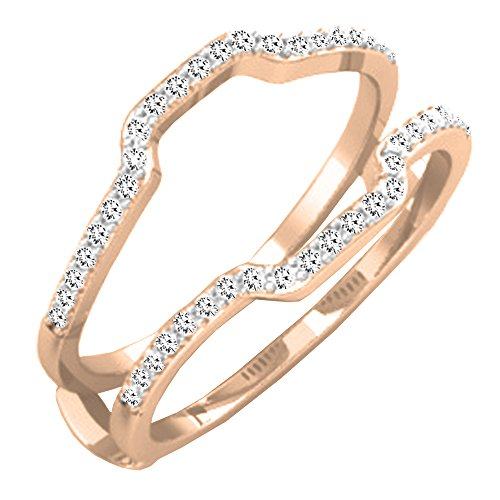 0.25 Carat (ctw) 10K Rose Gold White Diamond Wedding Band Enhancer Guard Ring 1/4 CT (Size (0.25 Ct Rose)