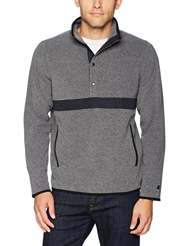 Starter Men's Polar Fleece Snap-Collar Pullover Jacket, Amazon Exclusive, Vapor Grey Heather, XX-Large ()