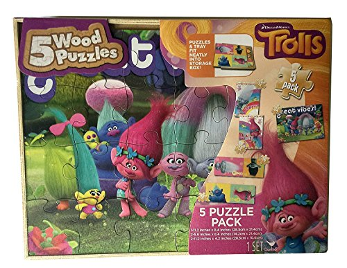 NEW HOT Trolls 5 Wood Puzzles Set for kids