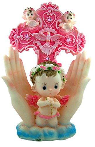 (Baby Guardian Angel Standing Crucifix with Praying Hands, 10 Inch (Pink))
