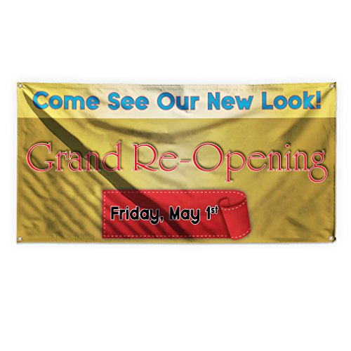 Come See Our New Look! Grand Re-Opening Outdoor Advertising Printing Vinyl Banner Sign With Grommets - 3ftx6ft, 6 Grommets (Outdoor Banner Opening)