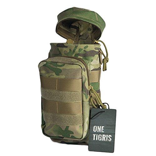 Botella de agua OneTigris EDC táctico francotirador funda 1000d nailon al aire libre Molle incluye correa para el hombro (la botella no es incluido), mujer hombre, Multicam-Nylon Multicam-Nylon