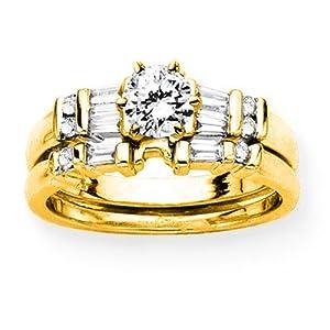 14K Yellow Gold 1/4 ct. Round and Baguette Cut Diamond Semi Mount Bridal Engagement Set