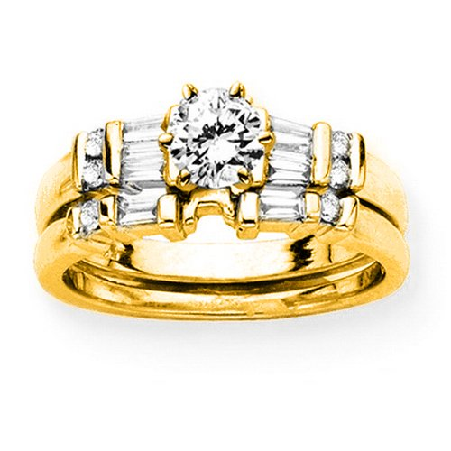 14K Yellow Gold 1/4 ct. Round and Baguette Cut Diamond Semi Mount Bridal Engagement Set