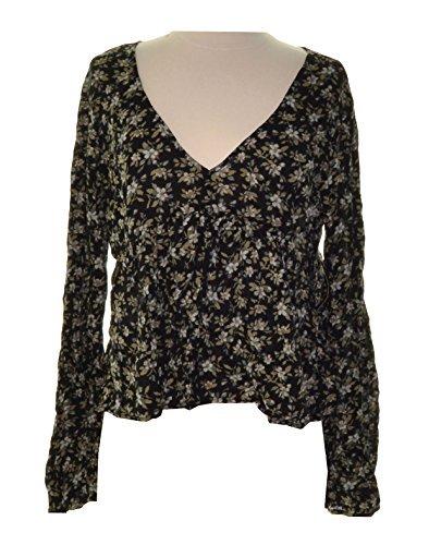 Denim & Supply Ralph Lauren Womens Woven Floral Print Blouse Black L (Lauren Woven Jeans)