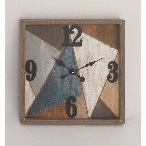 Benzara Multi-Color Wood Metal Wall Clock