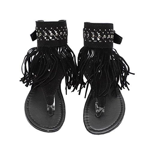 Sandales Evedaily Femmes Chaussures Perles Paillettes Pompon Bohème Sequin Pantoufles Orteil Clip Été De Plage Noir