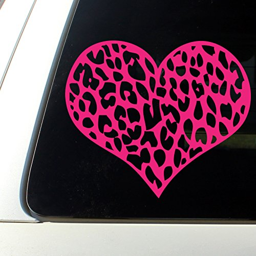 Leopard Print Heart Car Decal / Sticker Hot Pink