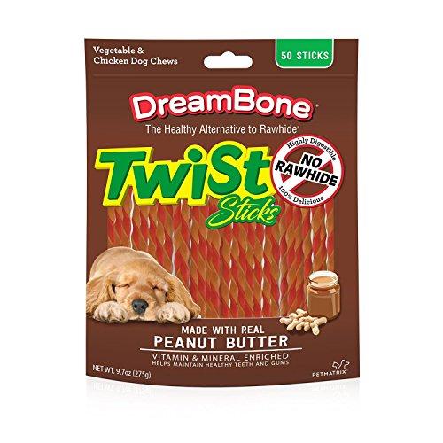 Butter Enriched - DreamBone Twist Sticks Peanut Butter 50 Sticks