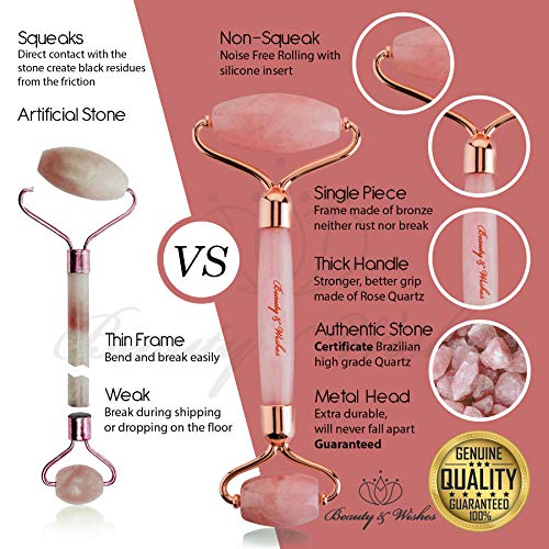 Jade Roller and Gua Sha Face Luxury Anti Aging Tool Set with Countertop Stand – Grade A – Authentic Brazilian Stone Facial Massager for Wrinkles - Non-Squeak by Beauty & Wishes (Rose Quartz)