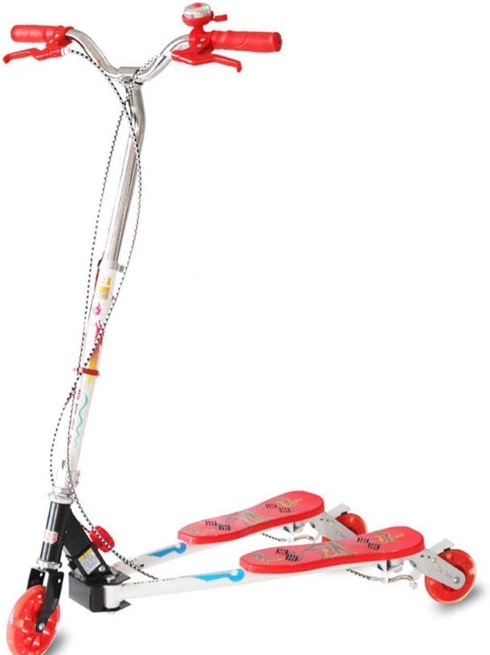 ZXL Scooter, Meneo para niños con Ruedas de Destello, Triciclo de Movimiento Giratorio, Freno de Mano + Freno Doble de la Rueda Trasera (Color: Rojo)
